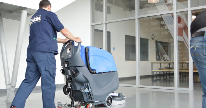 Industrial floor cleaning service on a customer's premise