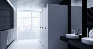 Well cleaned bathroom in a commercial building using our cleaning services