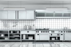 Restaurant kitchen maintained by our cleaning services in Montreal