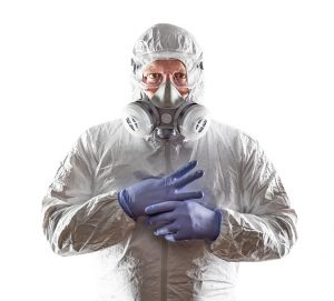 Covid19 disinfection expert with his protection equipment