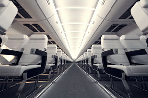 Airplane seat cleaned by janitorial services